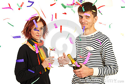 Happy couple celebrate new year party