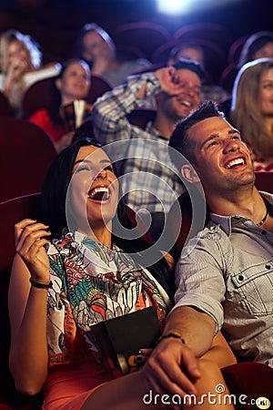 Happy couple at the cinema