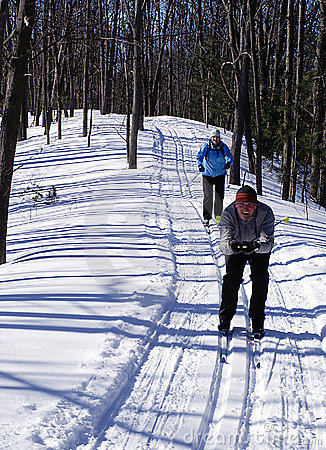 Happy Couple on  Cross Country Skis