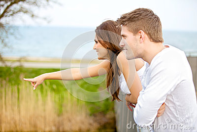 Happy Couple Dating Outdoors