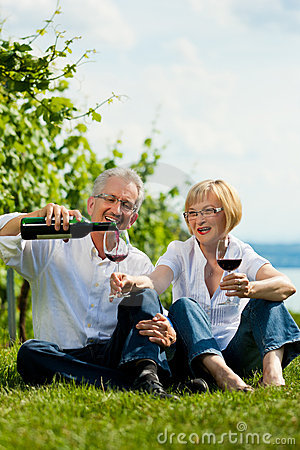 Happy couple drinking wine at lake in summer