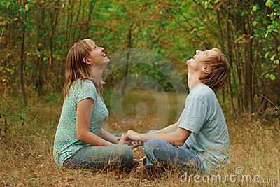 Happy couple enjoy summer nature