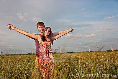Happy couple in Field
