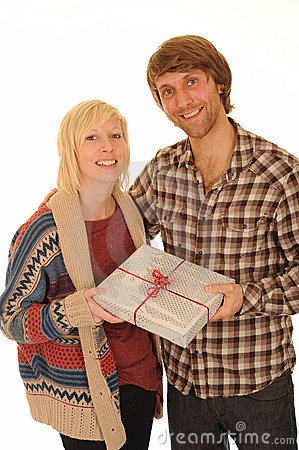 Happy couple with gift
