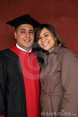 Happy couple on graduation day