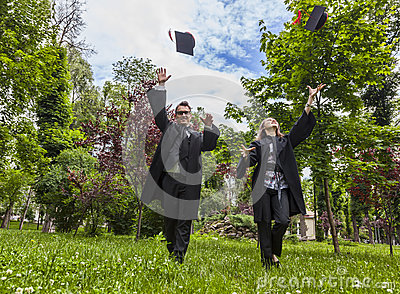 Happy Couple in the Graduation Day