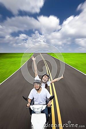 Happy couple having road trip