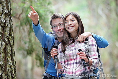 Happy couple hiking