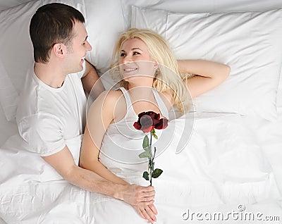 Happy couple at honeymoon