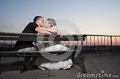 Happy couple kiss