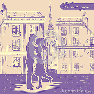 Happy couple in love on Paris street background