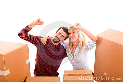 Happy Couple on Moving