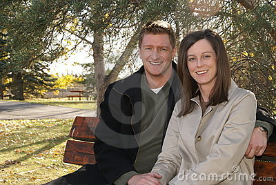 Happy Couple Park Bench Young