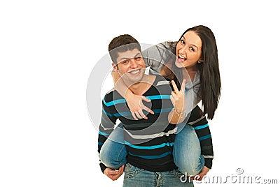 Happy couple piggyback