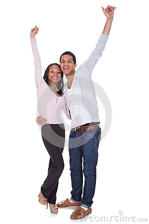 Happy Couple Raising Hand