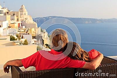 Happy couple on Santorini vacation