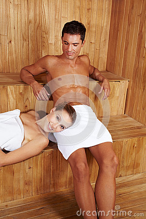 Happy couple in sauna