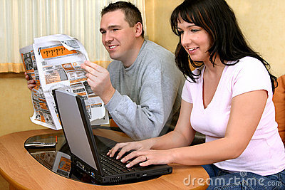 Happy Couple Searching Informations