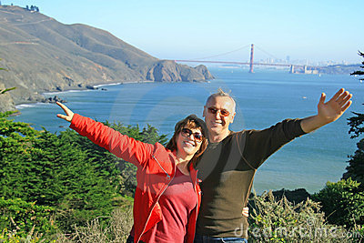 A happy couple in SF, Golden Gate Bridge