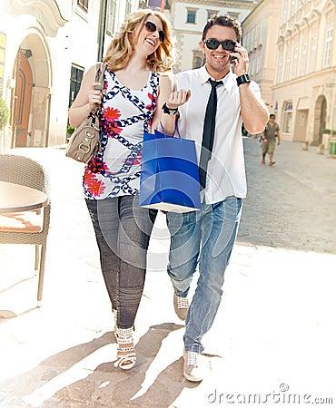 Happy Couple on Shopping Tour