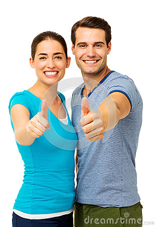 Happy Couple Showing Thumbs Up Sign
