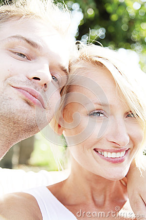 Happy couple smiling.