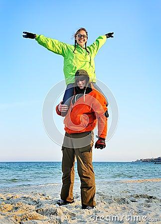 Happy couple in sports wear