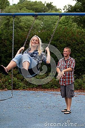 Happy Couple on swing set