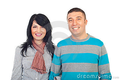 Happy couple with toothy smile