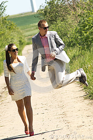 Happy couple walk