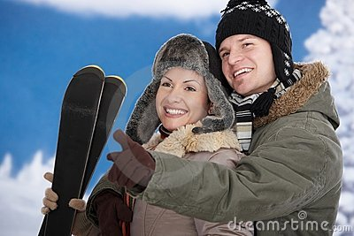 Happy couple at winter