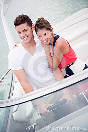 Happy couple on a yacht