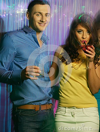 Happy couples at night club