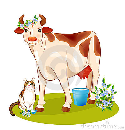 Free Happy Cow And Cat Royalty Free Stock Image - 18380006