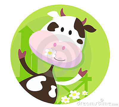Happy cow character  - farm animal