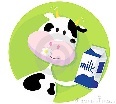 Happy cow with milk box on green background