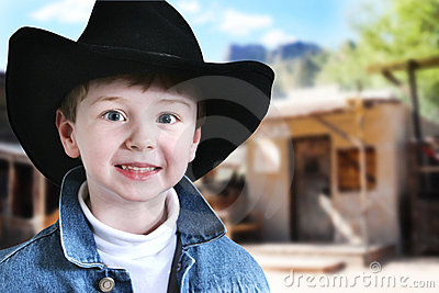 Happy Cowboy in Old West