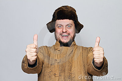 Happy Crazy Russian man with ear