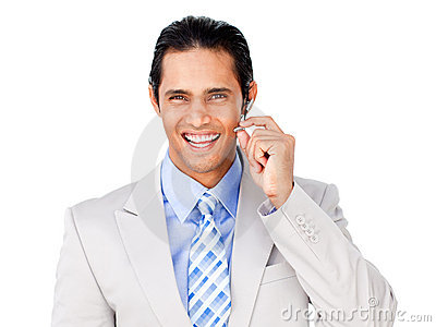 Happy customer service agent with headset on