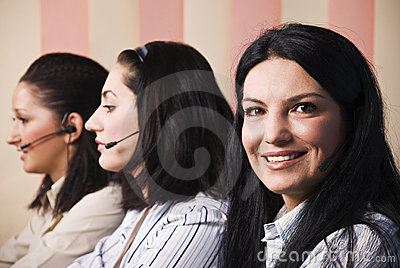 Happy customer service women give information