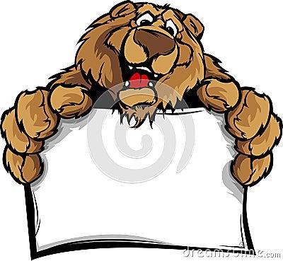 Happy Cute Bear Mascot Holding Sign