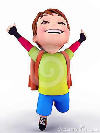 Happy Cute boy flying with school bag