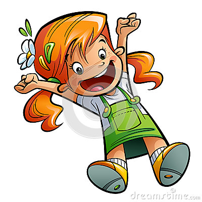Happy cute cartoon girl jumping happily stretching hands and leg Stock Photo