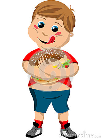 Happy Cute Fat Kid Hugging Big Hamburger