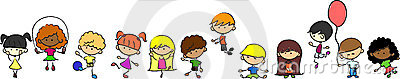 Happy cute kids play, dance, jump,vector