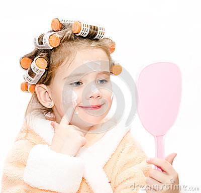 Happy Cute Little Girl In Hair Curlers With Mirror Stock Photo - Image ...