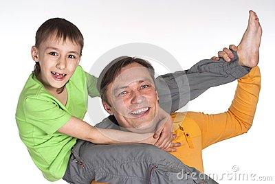 Happy dad and  his son