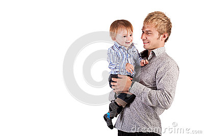Happy dady and Baby on a white. isolated