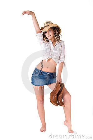 Free Happy Dancing Cowgirl Stock Image - 4915051