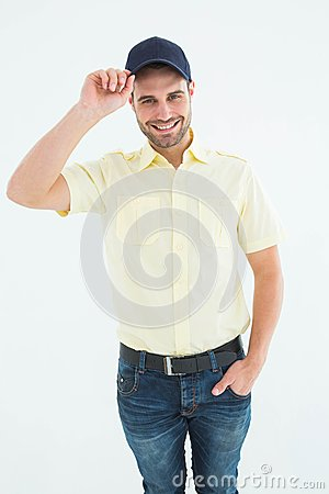Free Happy Delivery Man Wearing Baseball Cap Royalty Free Stock Images - 49235049